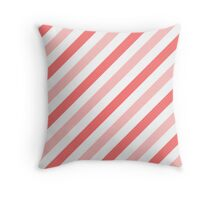 Pink-Diagonal-Tinted-White Two-Tone Diagonal Stripes Throw Pillow
