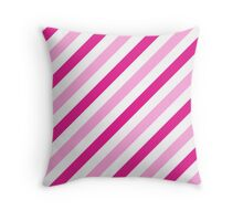 HotPink-Diagonal-Tinted-White Two-Tone Diagonal Stripes Throw Pillow