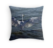 The Egret has Landed Throw Pillow