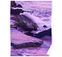Wave  Breaking  on Jetties at Cape May NJ Poster