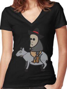 The tapir kid Women's Fitted V-Neck T-Shirt