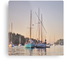 Sombrio and Native Girl at anchor, Silva Bay, Gabriola Island, BC Metal Print