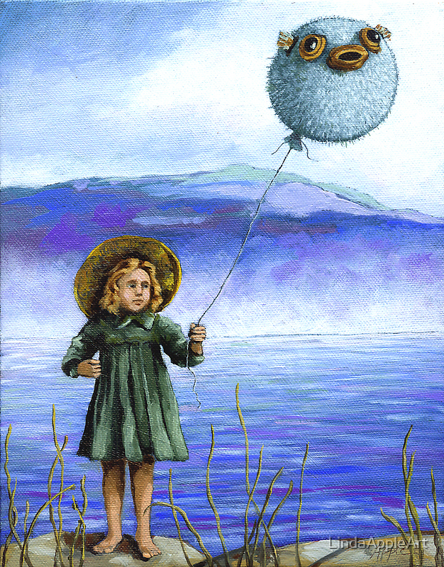 Puffaloon Lake - oil painting by LindaAppleArt