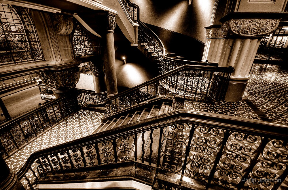 Over The Rails  (Sepia)- QVB Building , Sydney - The HDR Experience by Philip Johnson