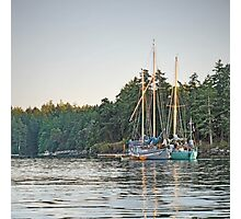 Sombrio and Native Girl at anchor, Silva Bay, Gabriola Island, BC Photographic Print