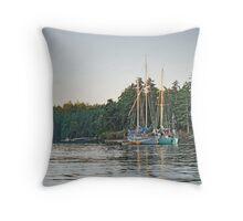 Sombrio and Native Girl at anchor, Silva Bay, Gabriola Island, BC Throw Pillow