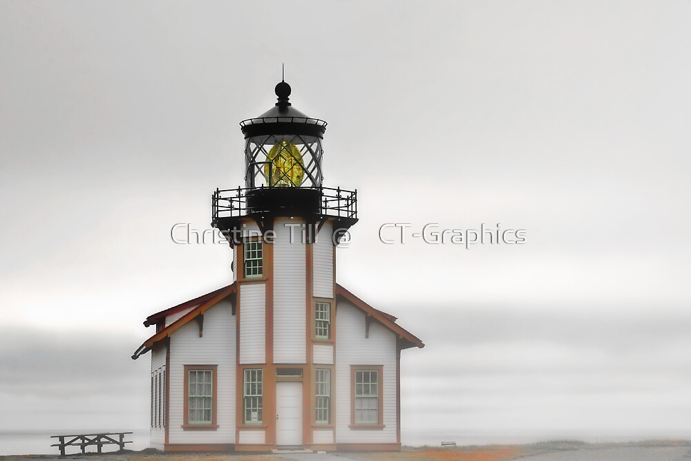 Point Cabrillo Lighthouse, California, in Fog by Christine Till  @    CT-Graphics