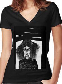 Black Window Women's Fitted V-Neck T-Shirt