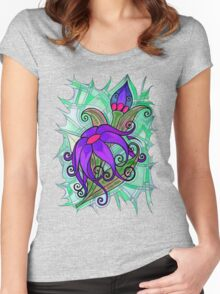Tshirt - Pink/Purple Corsage Women's Fitted Scoop T-Shirt