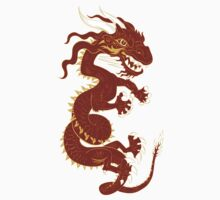 Red Dragon with Golden Style Kids Clothes