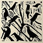 crows-lino print by Jeremy Wallace