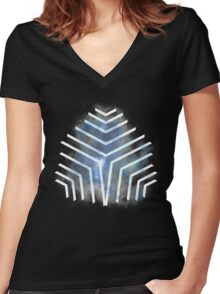 Graphic Nebula Blue Women's Fitted V-Neck T-Shirt