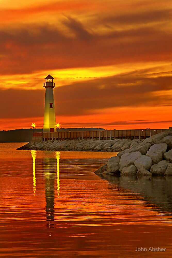 Wawatam Lighthouse in St. Ignace by John Absher