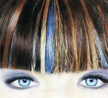 Blue Eyes Coloured Pencil Drawing (Vibrant) by Inma Vassar