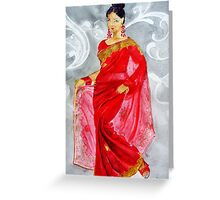 A Lady  In  Red Saree  Greeting Card