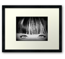Blue Eyes Pencil Drawing in Black and White  Framed Print