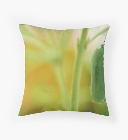 Chrysalis in Green and Gold Throw Pillow