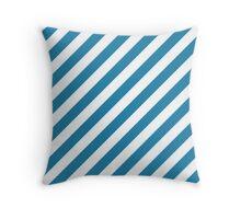 Blue Thick Diagonal Stripes Throw Pillow
