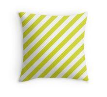 Chartreuse Thick Diagonal Stripes Throw Pillow