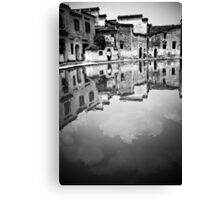 Water Town in Black & White 11 Canvas Print