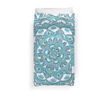 Summer Bloom - floral doodle pattern in turquoise & white Duvet Cover