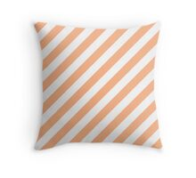 Peach Thick Diagonal Stripes Throw Pillow