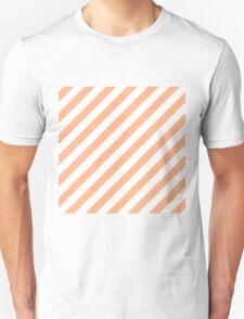 Peach Thick Diagonal Stripes Unisex T-Shirt