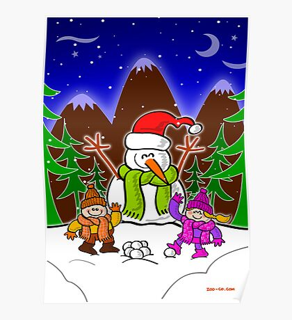 Christmas Snow Man and Children Poster