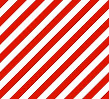 Red Thick Diagonal Stripes by ImageNugget