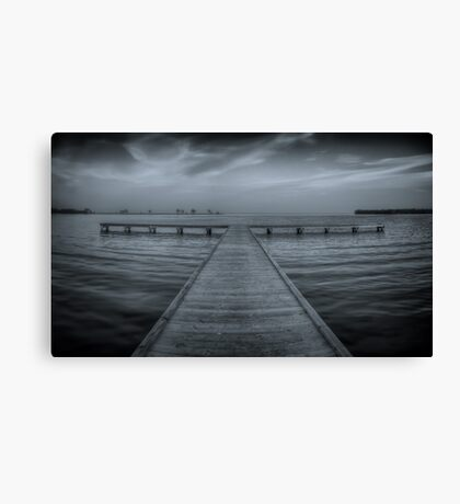 Pier at Millers Bay ~ HDR in Cyanotype Canvas Print