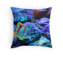 Tropical fish with coral background Throw Pillow