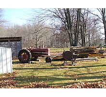 Old Tractor an saw Photographic Print
