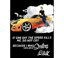 Paul walker Tribute t shirt, iphone case & more Photographic Print