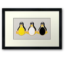LINUX TUX PENGUIN  3 COLOR EGGS Framed Print