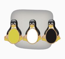 LINUX TUX PENGUIN  3 COLOR EGGS One Piece - Long Sleeve