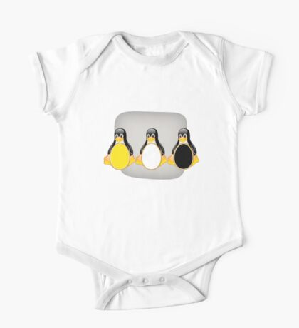 LINUX TUX PENGUIN  3 COLOR EGGS One Piece - Short Sleeve