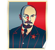 LENIN RED BLUE PORTRET  Poster