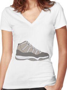 "Air Jordan XI (11) ""Cool Grey"" Women's Fitted V-Neck T-Shirt"