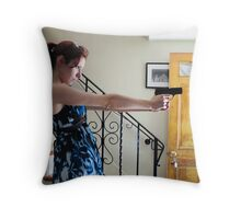 guns in the house Throw Pillow