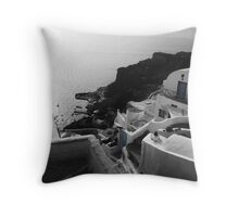 Santorini Hillside Throw Pillow