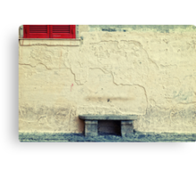 Stone bench, closed shutters and graffiti Canvas Print
