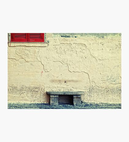 Stone bench, closed shutters and graffiti Photographic Print