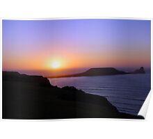 Rhossili Sunset Poster