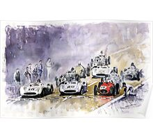 Red Car Maserati 250 Start France GP Poster