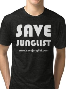 Save Junglist with url ... (white design on black) Tri-blend T-Shirt