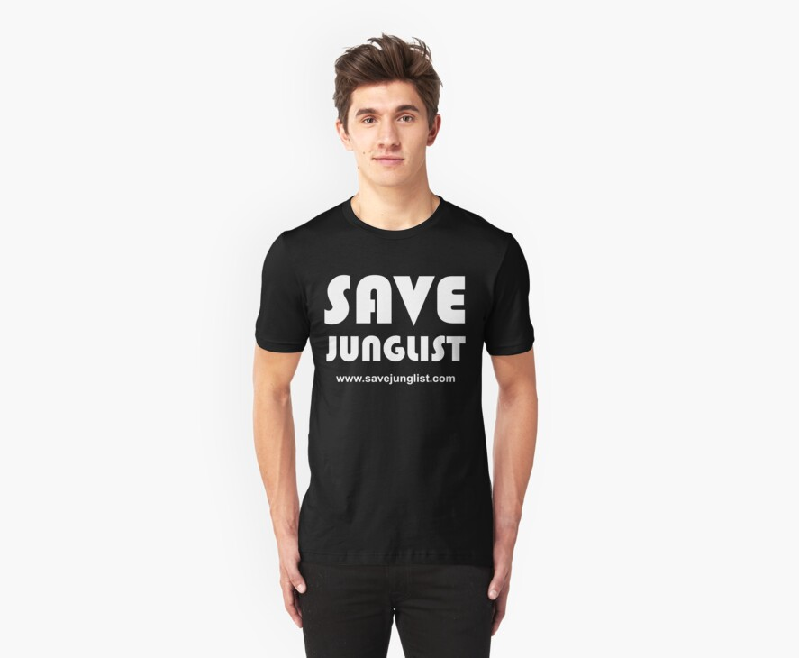 Save Junglist with url ... (white design on black) by waltex