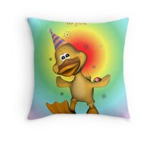 Happy Birthday Duckie card Throw Pillow
