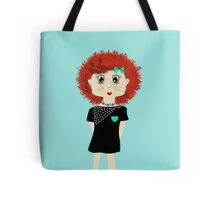 Cute Red Haired Cartoon Girl Illustration Tote Bag