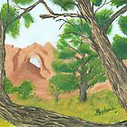 Window Rock Cedar ~ Oil Panting by Barbara Applegate