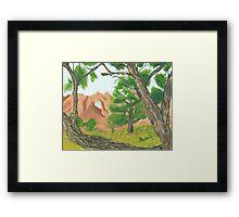 Window Rock Cedar ~ Oil Panting Framed Print